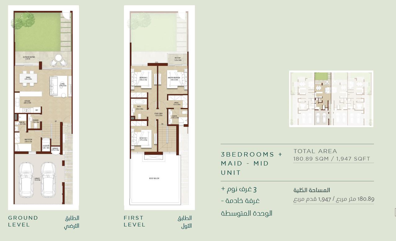 3-Bedroom Mitteleinheit (Typ 3M)
