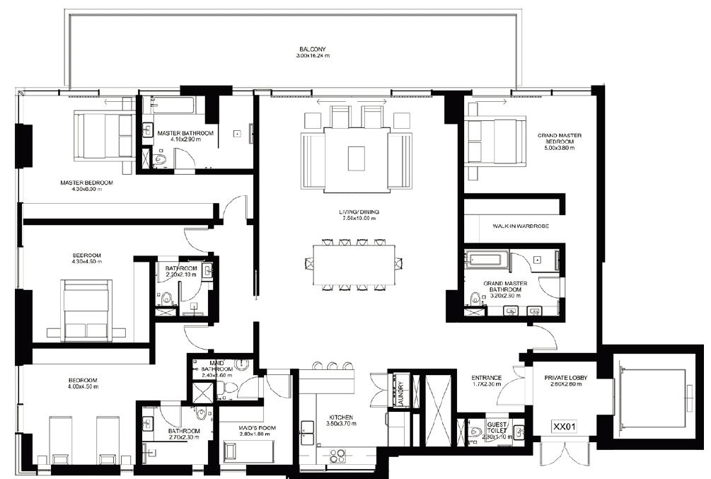 4-Bedroom incl. Maid`s Room (höhere Stockwerke)