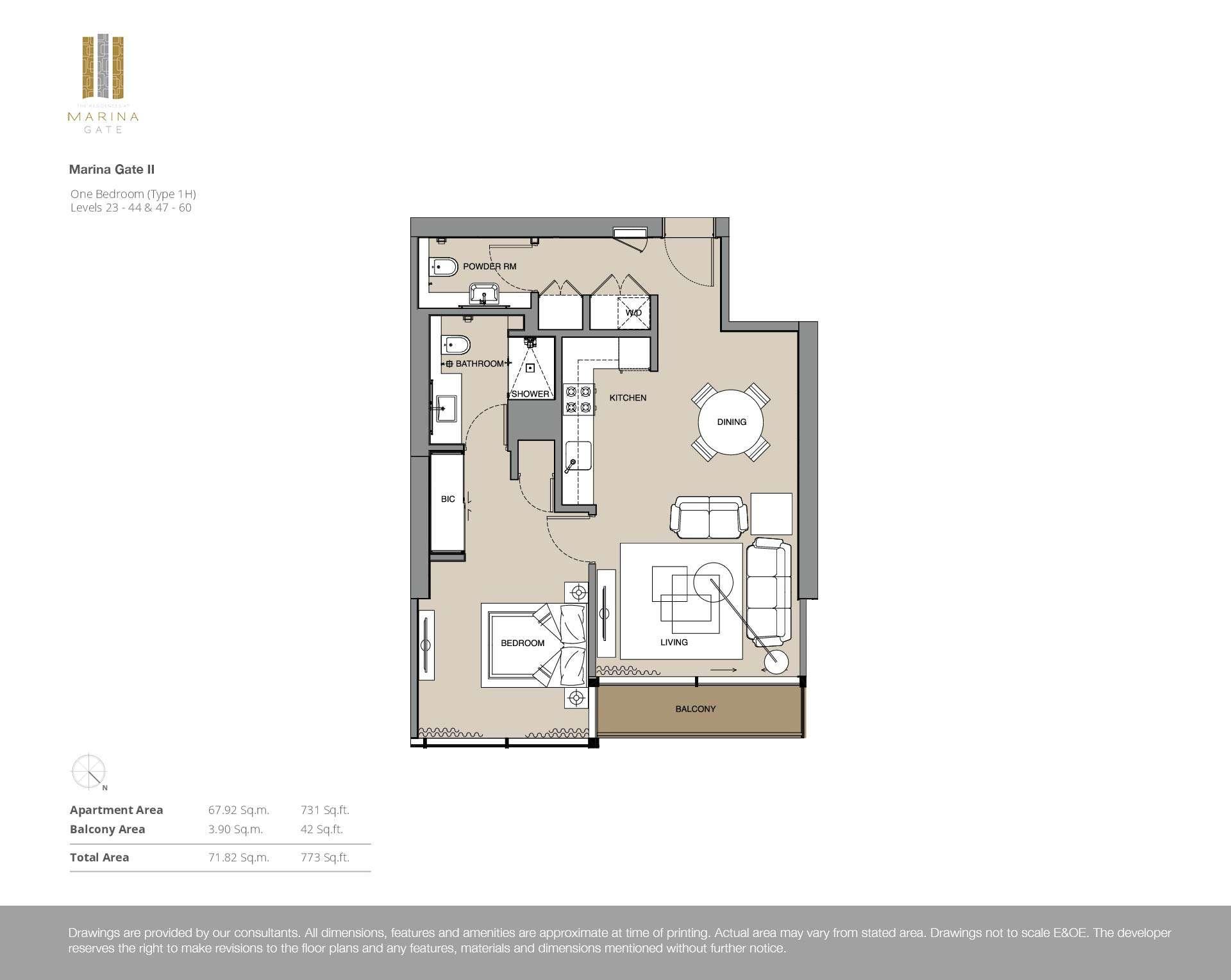 1-Bedroom Stockwerke 23-44 und 47-60 (Typ 1H)