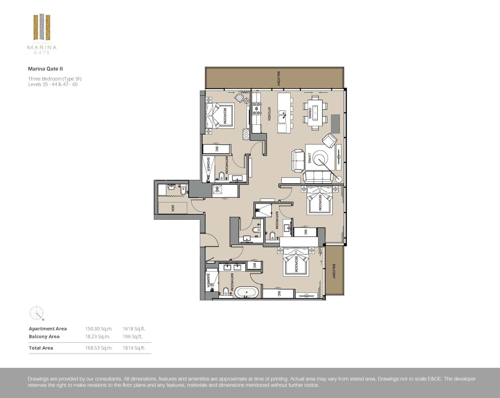 3-Bedroom Apartment Stockwerke 35-44  und 47-60